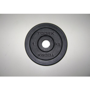Disco In Ghisa Nero Gommato Toorx 1 Kg  Foro 25 mm